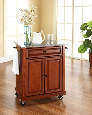 Solid Granite Top Portable Kitchen Cart/Island in Classic Cherry - CROSLEY-KF30023ECH