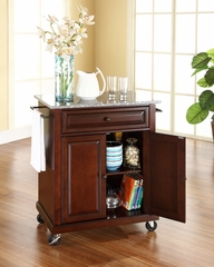 Solid Granite Top Portable Kitchen Cart/Island in Vintage Mahogany - CROSLEY-KF30023EMA