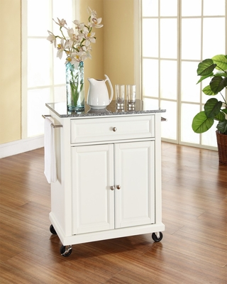 Solid Granite Top Portable Kitchen Cart/Island in White - CROSLEY-KF30023EWH