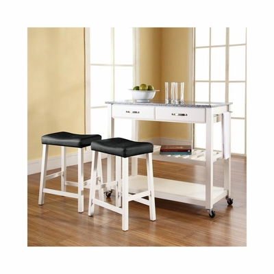 Solid Granite Top White Kitchen Cart / Island with 24