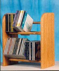 Solid Oak 2 Row Dowel 52 CD Rack - 204