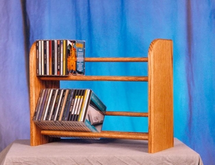 Solid Oak 2 Row Dowel CD Rack - 201L