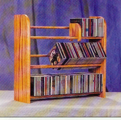 Solid Oak 3 Row Dowel Tabletop CD Rack - 301