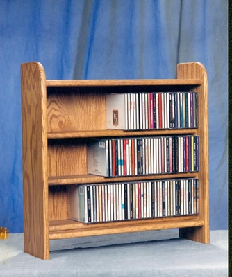 Solid Oak 3 Shelf Tabletop CD Cabinet - 302