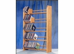 Solid Oak 5 Row Dowel Tabletop CD Rack - 501
