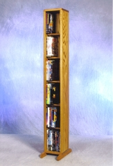 Solid Oak 6 Row Dowel 60 Capacity DVD Cabinet Tower - 615