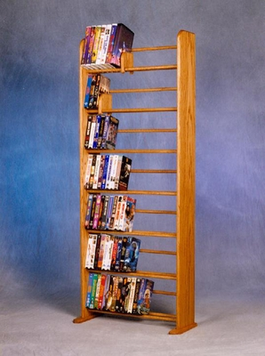 Solid Oak 7 Row Dowel DVD/VHS Storage Rack - 705-DVD/VHS