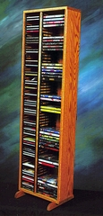 Solid Oak CD and DVD Combination Storage Tower - 211-4CD/DVD
