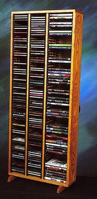Solid Oak Storage Tower for CD's and DVD's - 312-4CD/DVD