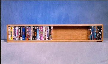 Solid Oak Wall or Shelf Mount DVD/VHS/Book Cabinet - 108-4W