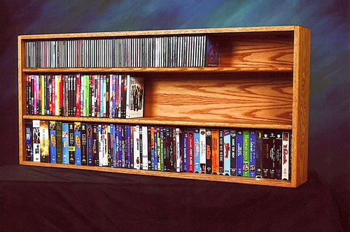 Solid Oak Wall / Shelf Mount for CD / DVD / VHS / Book Cabinet - 313-4W