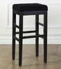 "Sonata 26"" Stationary Barstool in Black Microfiber / Black - Armen Living - LCSTBAMFBL26"