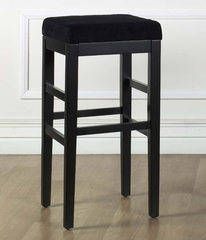 "Sonata 30"" Stationary Barstool in Black Microfiber / Black - Armen Living - LCSTBAMFBL30"