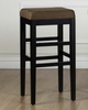 "Sonata 30"" Stationary Barstool in Brown Microfiber / Black - Armen Living - LCSTBAMFBR30"