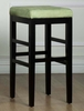 "Sonata 30"" Stationary Barstool in Green Microfiber / Black - Armen Living - LCSTBAMFGR30"