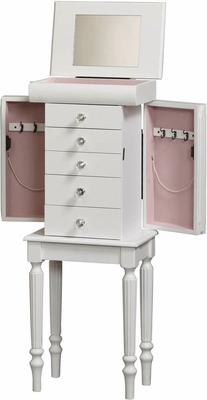 Sonia Jewelry Armoire in White - Linon