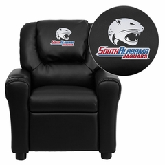 South Alabama Jaguars Embroidered Black Vinyl Kids Recliner - DG-ULT-KID-BK-41091-EMB-GG