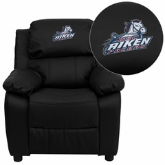 South Carolina Aiken Pacers Embroidered Black Leather Kids Recliner - BT-7985-KID-BK-LEA-41092-EMB-GG