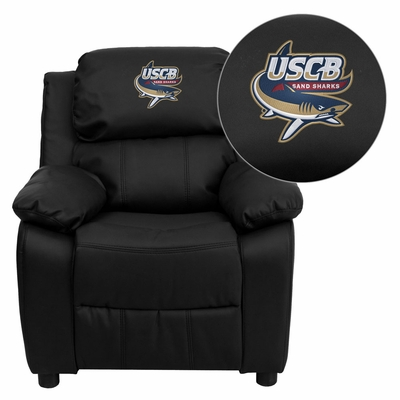 South Carolina Beaufort S& Sharks Embroidered Black Leather Kids Recliner - BT-7985-KID-BK-LEA-41093-EMB-GG
