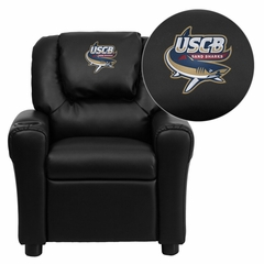 South Carolina Beaufort S& Sharks Embroidered Black Vinyl Kids Recliner - DG-ULT-KID-BK-41093-EMB-GG