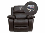 South Carolina Beaufort S& Sharks Embroidered Brown Leather Rocker Recliner - MEN-DA3439-91-BRN-41093-EMB-GG