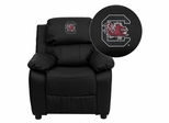 South Carolina Gamecocks Embroidered Black Leather Kids Recliner - BT-7985-KID-BK-LEA-40008-EMB-GG
