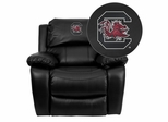 South Carolina Gamecocks Embroidered Black Leather Rocker Recliner  - MEN-DA3439-91-BK-40008-EMB-GG