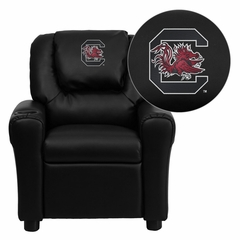 South Carolina Gamecocks Embroidered Black Vinyl Kids Recliner - DG-ULT-KID-BK-40008-EMB-GG