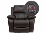 South Carolina Gamecocks Embroidered Brown Leather Rocker Recliner  - MEN-DA3439-91-BRN-40008-EMB-GG