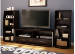 "South Shore City Life 60"" Two Drawer TV Stand with Bookcases in Chocolate - 4219662"