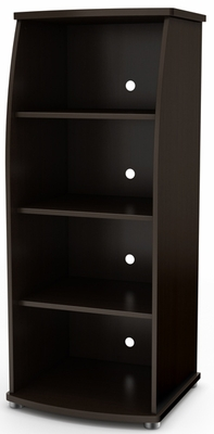 South Shore City Life Contemporary 4 Shelf Bookcase in Chocolate - 4219651