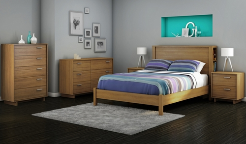 South Shore Flynn Full Platform Bedroom Set with 2 Nightstands - 3226267