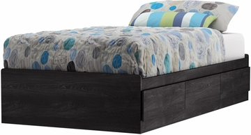 South Shore Flynn Gray Oak Twin Mates Bed with Storage - 3237212