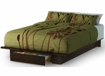 South Shore Holland Contemporary Full/Queen Platform Bed  with Drawer in Mocha - 3379215