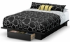 South Shore Holland Full/Queen Platform Bed in Pure Black - 3370215