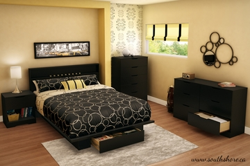 South Shore Holland Full/Queen Pure Black Bedroom Set - 5 Piece - 3370261