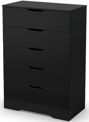 South Shore Holland Pure Black Drawer Chest with Five Drawers - 3370035