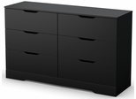 South Shore Holland Pure Black Dresser with 6 Drawers - 3370010