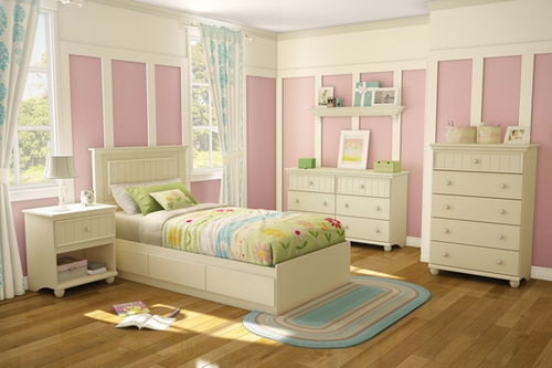 South Shore Hopedale 5 Piece Twin Mates Ivory Bedroom Set - 3711212
