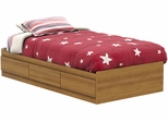 South Shore Jumper Twin Mates Bed with 3 Drawers in Harvest Maple - 3326212