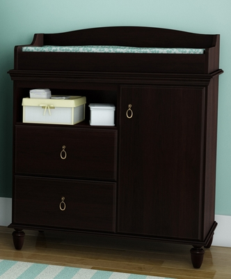 South Shore Moonlight Changing Table in Dark Mahogany - 3716332
