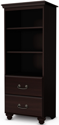 South Shore Noble Shelving Unit with 2 Drawers - Dark Mahogany - 4316652