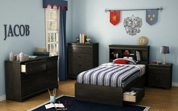 South Shore Quilliams Twin Mates 5 Piece Bedroom Set in Ebony - 3377212