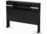 South Shore Step One Pure Black Full Bookcase Headboard - 3107093
