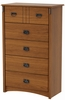 South Shore Tryon 5 Drawer Chest in Roasted Oak - 3791035