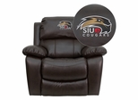Southern Illinois University Edwardsville Cougars Brown Leather Recliner - MEN-DA3439-91-BRN-41071-EMB-GG