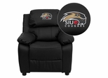 Southern Illinois University Edwardsville Cougars Leather Kids Recliner - BT-7985-KID-BK-LEA-41071-EMB-GG