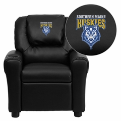 Southern Maine Huskies Embroidered Black Vinyl Kids Recliner - DG-ULT-KID-BK-41094-EMB-GG