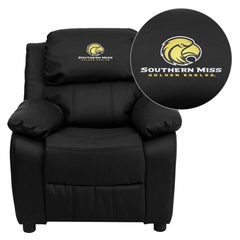 Southern Mississippi Golden Eagles Embroidered Black Leather Kids Recliner - BT-7985-KID-BK-LEA-45026-EMB-GG