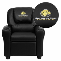 Southern Mississippi Golden Eagles Embroidered Black Vinyl Kids Recliner - DG-ULT-KID-BK-45026-EMB-GG